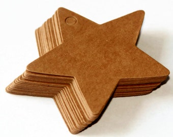 20 Star Shaped Tags - 6cms or 60mm - Kraft Card Gift Tags - Plain Brown Manilla Tags - Christmas Star Tag - Xmas Gift Packaging - OC12