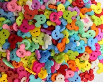 Mickey plastic button - 100 pcs