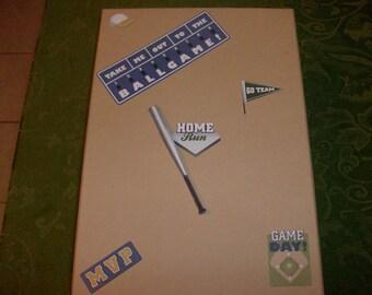 Tan Sturdy Treasure/Memory Box w/ 3D Baseball Pics