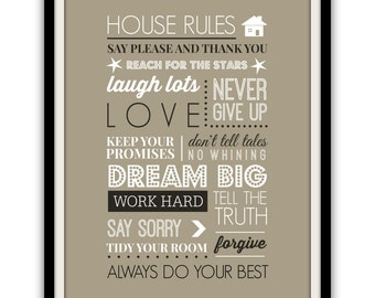 INSTANT DIGITAL DOWNLOAD . . . House Rules . Fun And Quirky Guide To A Happy Home . Neutrals . Typography