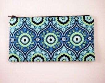 Blue Zipper Pouch, Pencil Pouch, Cosmetic Bag, Gadget Bag