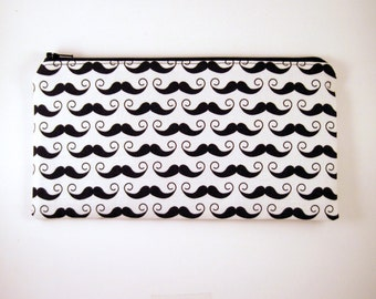 Black and White Mustache Zipper Pouch, Pencil Pouch, Make Up Bag, Gadget Bag