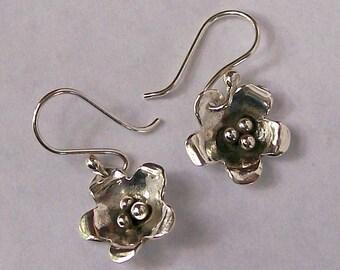 Sterling Flower Dangle Earrings Silver Ball Centers, Petal Jewelry