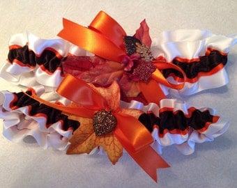 Autumn/fall leaf garter set in white, orange and brown