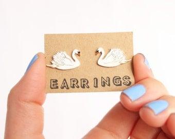 Earrings: Swan