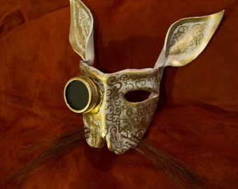 Hand shaped Steampunk Leather bunny mask w/ goggle and horse hair whiskers