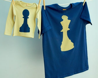 Chess T Shirt Set for King Father and Pawn Son or Daughter on Matching Organic Cotton tshirts / tees