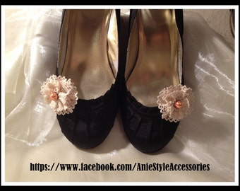 """Rustic / Shabby Chic """"Cream Lace & Pearls Shoes Clips Handmade Ladies Accessories"""