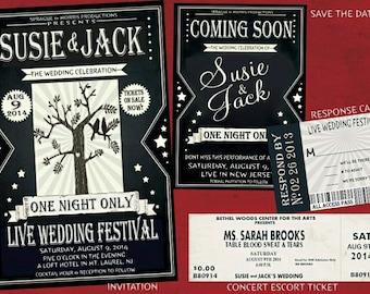 Wedding Festival Invitation Suite-- Vintage Concert Flyer Style --Printed or Digital Download option