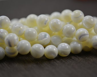 white mother of pearl beads - white shell beads - round shell beads - MOP beads supplies - wholes shell beads - 10mm shell  beads -15inch