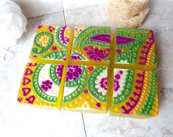 Jasmine Glycerin Soap, Hand Decorated Arabian Nights Paisley Soap,Jasmine Decorative Glycerin Soap.Hostess Gift Soap