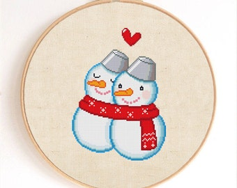 Cute Snowman Couple Counted Cross Stitch Pattern Instant Download