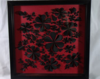 Red & Black 3D Flower Wall Art