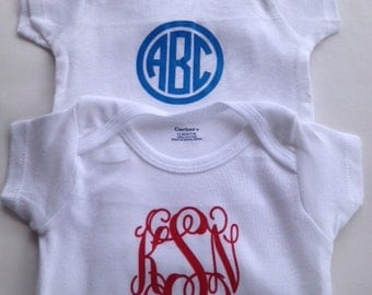 TWO Monogram Baby Bodysuits - Personalized Baby Clothes - Personalized Baby Bodysuits