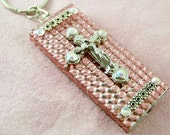 Pink Acrylic bling Mini LED Flashlt.w silver cross w crucifix, silver bar embellishments;back is pink w stone button cover.
