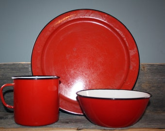 Vintage Red Enamel Set