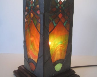 Unique stained glass and slate stone lantern.