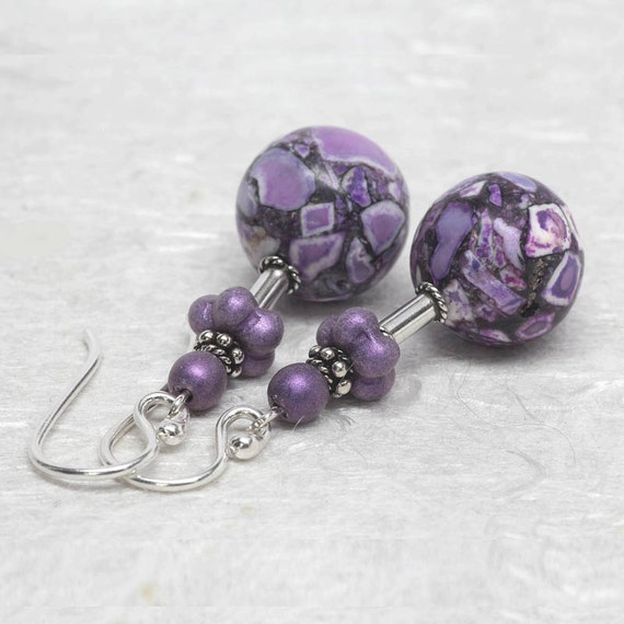 purple violet gemstone earrings flower turquoise dangle. Black Bedroom Furniture Sets. Home Design Ideas