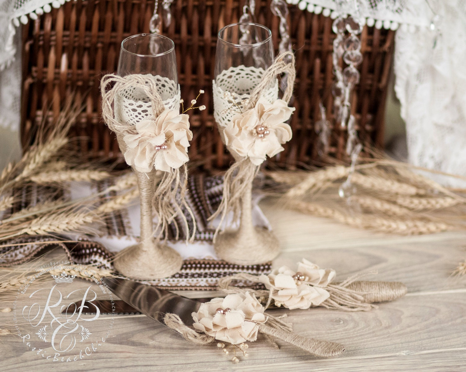 Vintage Wedding Glasses With Name And Cake Knife