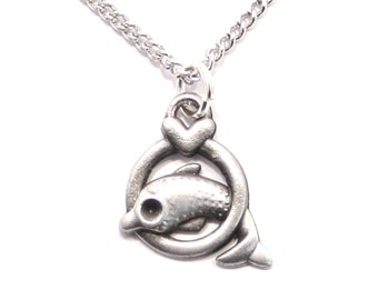 Dolphin and Heart Necklace in English Pewter, British Made, Gift Boxed (H)