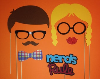 Photo Booth Props - 8 Piece Nerds Rule Photo Booth Prop Set