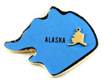6x Blank Brass Alaska State Charms - M073-AK