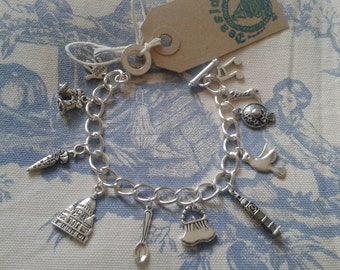 Mary Poppins Inspired Silver link charm bracelet made by Teaside of Broadstairs