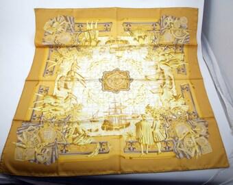 "HERMES SILK SCARF Yellow & White ""Azulejos"" by Catherine Baschet. In Prestine Condition."