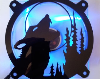 Custom HOWLING WOLF MOON Computer pc Fan Grill Gloss Black Acrylic Cooling Cover Mod
