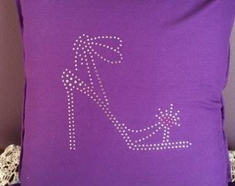 Diamanté  cushion cover, purple stilletto, sparkle