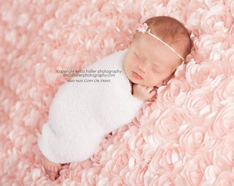 Angelina, Pink Flower Headband, Pink Headband, Flower Headband, Newborn Headband, Newborn Photo Prop, Many Colors Available