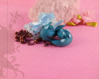 Dragon necklace pendant polymer clay handmade with loop kawaii jewelry