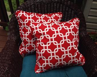 Lipstick Red • White Lattice Print Pillows by GG