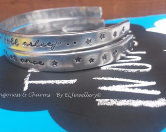"Hand Stamped 'I Fell in Love the way you fall asleep...' 1/4"" Aluminium Cuff Bracelet Set, TFIOS, The fault in our stars, Valentines Gift."