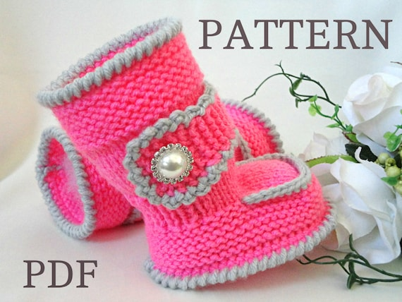 Girls Knitted Hat Pattern : Knitting PATTERN Baby Booties Baby Shoes Knitted Baby Uggs