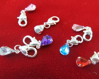 """5pc clip-on """"drop"""" charms in antique silver style (BC204)"""