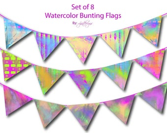 Digital Watercolor Banner, Patterned,Bunting Flags, Scrapbook Supplies, Craft Supplies, Scrapbooking, Clipart Commercial Use, DIY