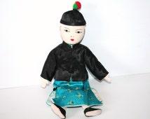 Classic Vintage Cloth Asian Doll - sewn on features -yarn hair-traditional dress /MEMsArtShop.