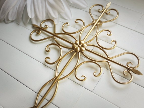 Gold Cross Wall Decor : Items similar to gift idea gold decor wall