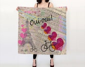 Paris Silk scarf with Paris map, hearts, love, bicycle, travel, gift, valentine, oui oui, french, france, Eiffel tower, travel theme