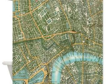 London Shower Curtain - Street map of London -  Home Decor -  travel decor wanderlust - antique  maps of England
