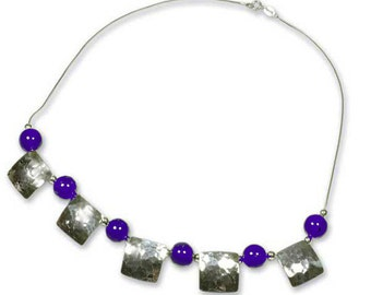 Sterling Silver and Lapis Lazuli Beads Shields Necklace