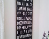 Miami - Unique 'Floating' Distressed Subway Beach Style Sign Original Handmade Typography Wall Art - Wood Sign with Quote.
