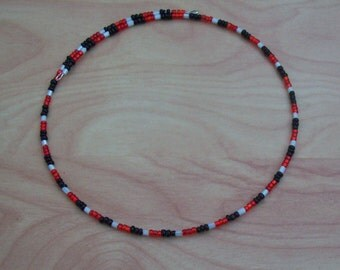Red, White, and Black Memory Wire Choker