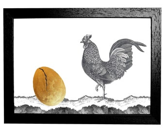 Which came first? Hand Gilded  Print