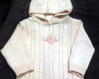Hooded Baby Sweater with zipper in the back