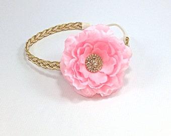 Pink and Gold Headband, Pink Headband, Gold Braided Headband, Adult Headband, Gold Boho Headband, Pink and Gold flower girl Headband