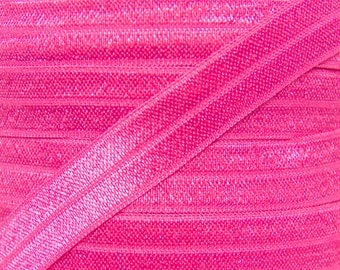 Hot Pink Fold Over Elastic - Elastic For Baby Headbands and Hair Ties - 5 Yards of 5/8 inch FOE