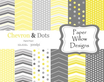 Chevron Dots-Yellow and Gray-(12)-12x12 digital sheets-300dpi-Instant Download-Yellow-Grey-Gray-Chevron-Dots-Polka Dots