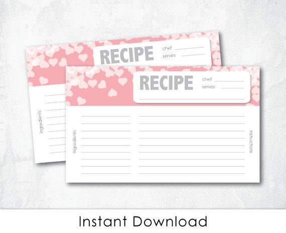 Pink Recipe Cards For Bridal Shower Bridal Shower Recipe Card